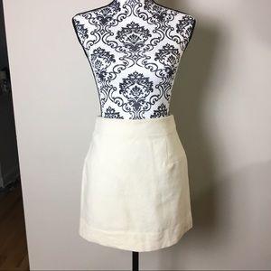 J Crew White Cream Wool Mini Skirt 0